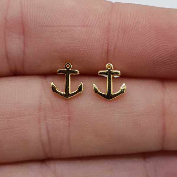 Gold plated anchor oorknopjes