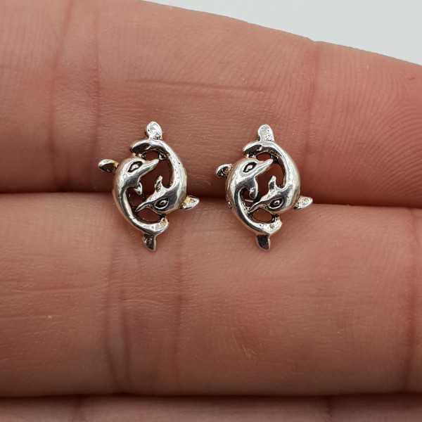 Silber oorknoppen zwei Delfine
