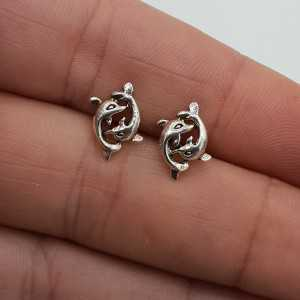 Silver oorknoppen two dolphins