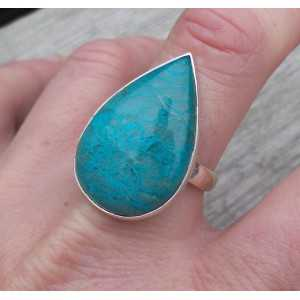 Silber ring set mit eine Ovale Form Chrysokoll Messen 19.7 mm