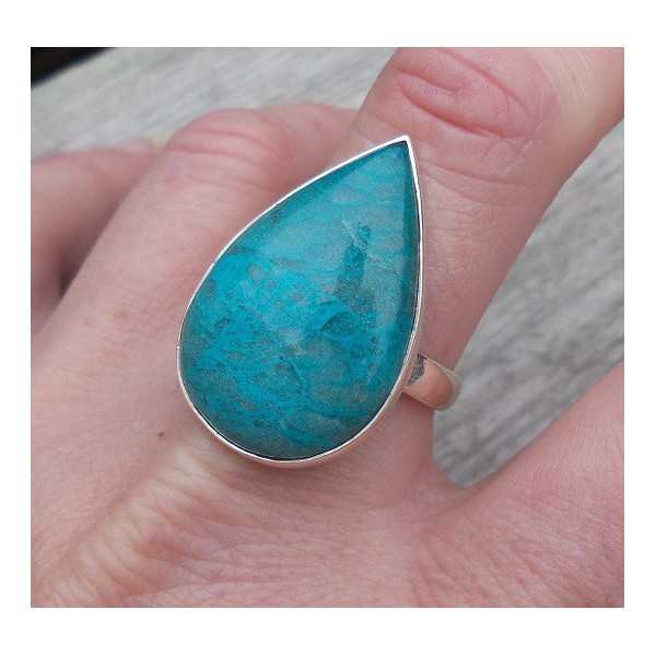 Silver ring set with oval shape Chrysocolla measure 19.7 mm