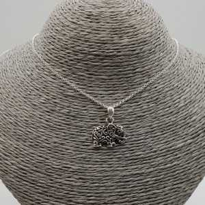 Silver necklace with elephant pendant
