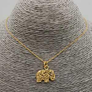 Vergoldete Halskette mit Elefanten-Anhänger