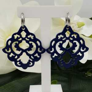 Creoles with blue lacquered buffalo horn pendant