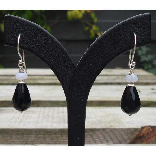 Silber Ohrstecker mit schwarz Onyx und blau Lace Achat