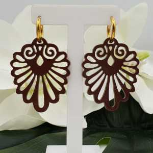 Creoles with painted carved buffalo horn pendant