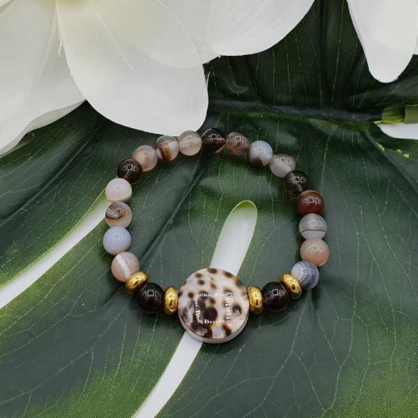 Bracelet made of Botswana Agate, Smokey Topaz, and Cowrie shell