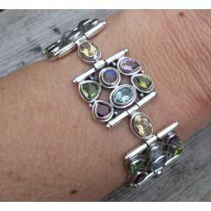 Silber Armband-set mit Facette geschnitten, multi Edelsteine