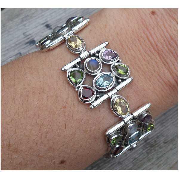 Zilveren armband gezet met facet geslepen multi edelstenen