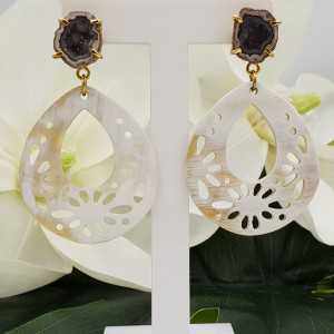 Gold plated earrings with buffalo horn and Agate geode