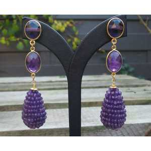 Gold plated earrings round, oval and drop of facet Amethisten