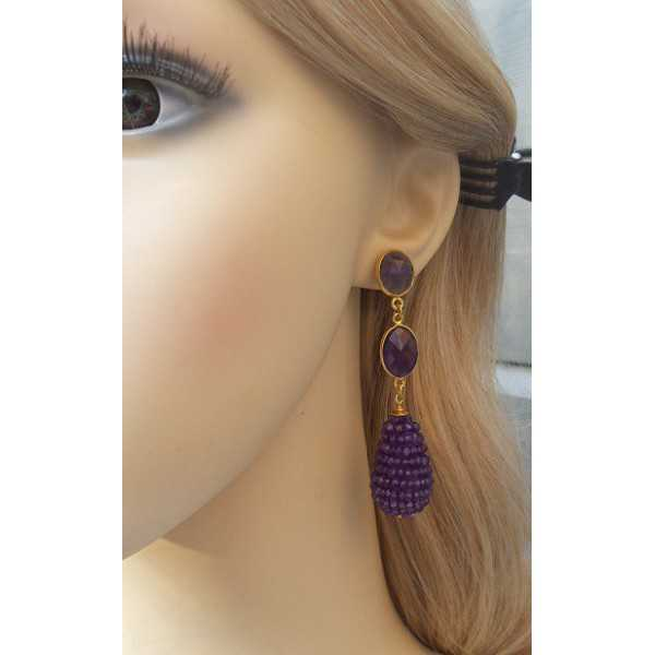 Vergoldete Ohrringe mit ovalen und Tropfen Facette Amethisten