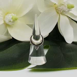Silver half moon ring 16 mm