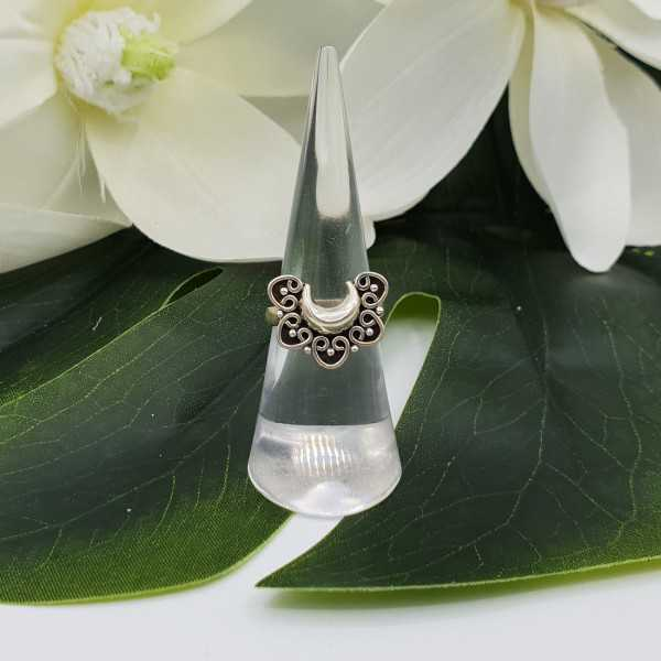 Silver carved half moon ring