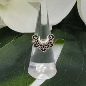 Silber geschnitzt half moon-ring