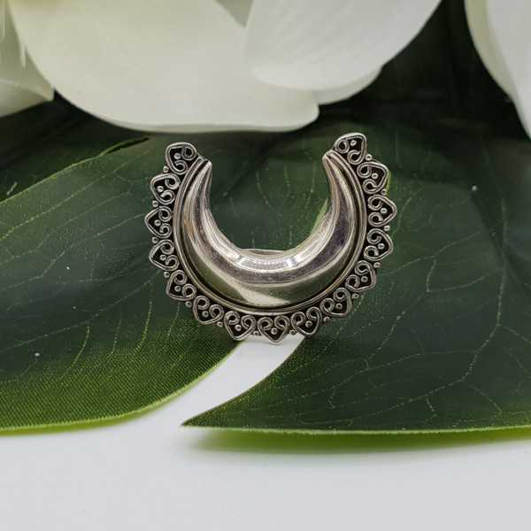 Silver large carved half-moon ring 18 mm