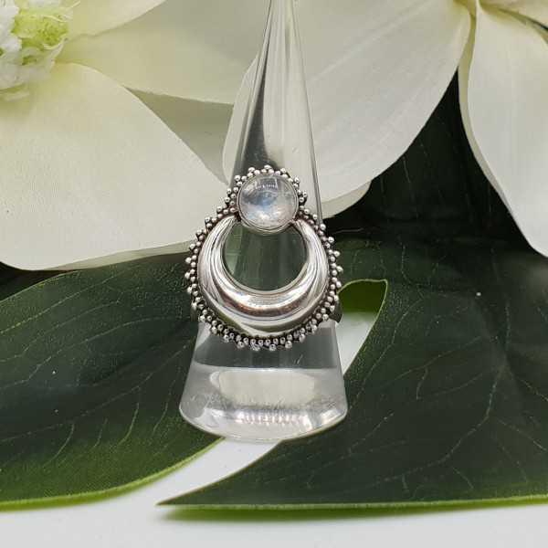 Silber, halb-Mond-ring set mit Runden Regenbogen-Mondstein