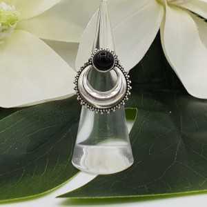 Silber, halb-Mond-ring set mit Runden schwarzen Onyx