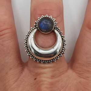 Silber, halb-Mond-ring set mit Runden Labradorit