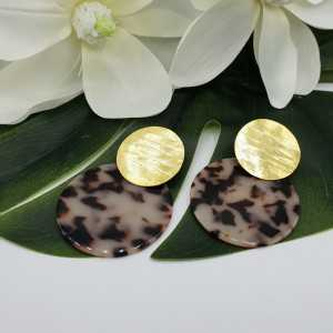 Gold plated earrings with large round resin pendant