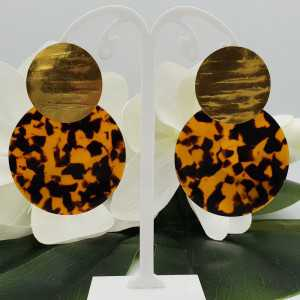 Gold plated earrings large round resin pendant