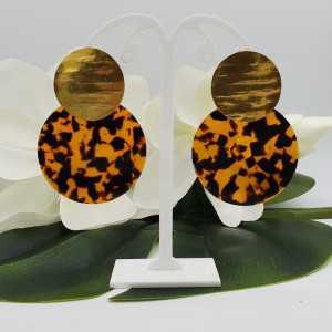 Goud vergulde oorbellen grote ronde resin hanger