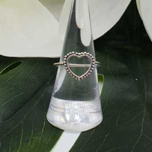 Silber open heart ring
