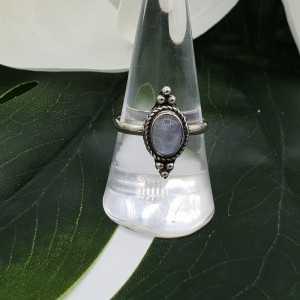 Silber ring mit ovalen cabochon Regenbogen Mondstein
