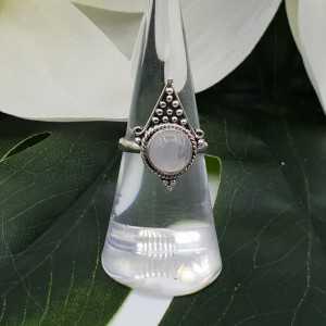 Silber ring set mit Runden Regenbogen-Mondstein