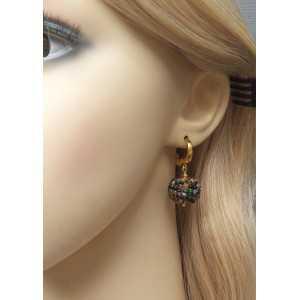Vergulde oorbellen met bollen van facet geslepen Toermalijn
