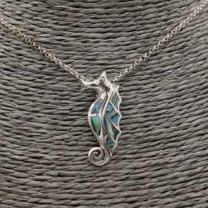 Zilveren hanger zeepaard gezet met Abalone schelp