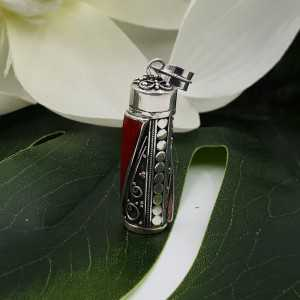Zilveren parfumhanger / ashanger met Koraal