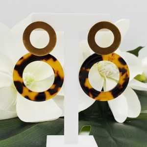 Gold plated earrings with open resin ring