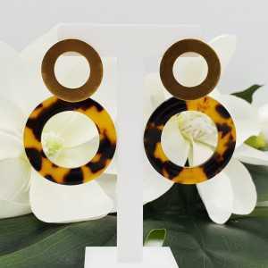 Goud vergulde oorbellen met open resin ring