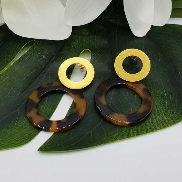 Vergoldete Ohrringe mit offener Harz-ring