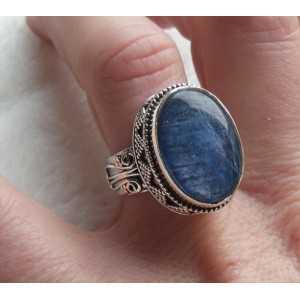 Silber-ring mit Kyanit in Einstellung Bearbeitung von 17.3 mm