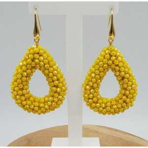 Vergoldete Ohrringe mit offenem Tropfen gelbe Kristalle