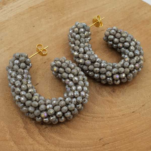 Glassberry creoles with grey crystals