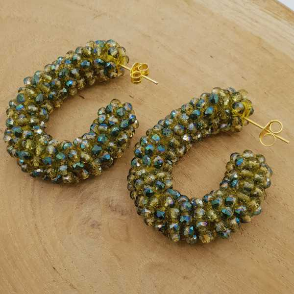 Glassberry creoles with sparkle green crystals