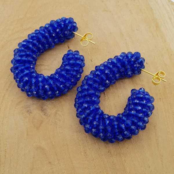 Glassberry Kreolen blau Kristalle