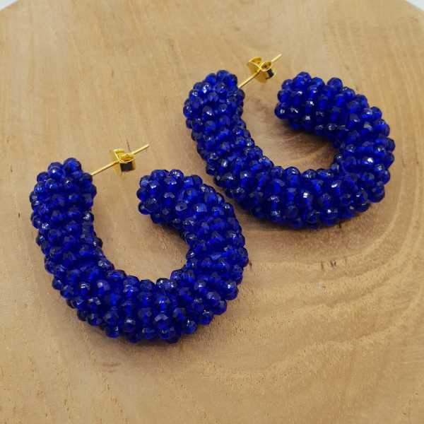 Glassberry Kreolen dark blue Kristalle