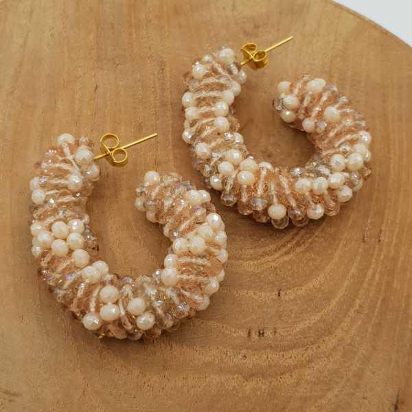 Glassberry Kreolen ivory nude Kristalle