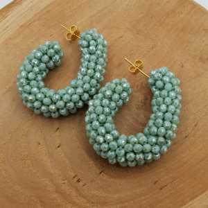 Glassberry creoles mint green crystals