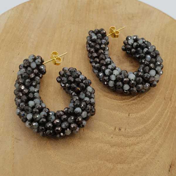 Glassberry Kreolen, schwarzen und grauen Kristallen