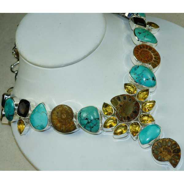 Silber Halskette set mit Ammonit, Türkis und Citrin