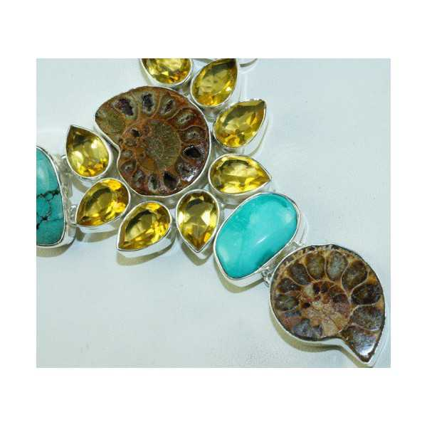 Silver necklace set with Ammonite, Turquoise and Citrine