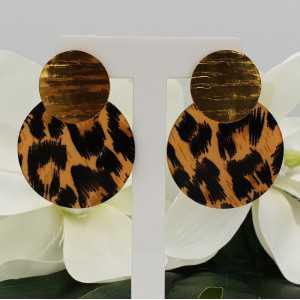 Vergoldete Ohrringe mit leopard-Druck Harz Anhänger