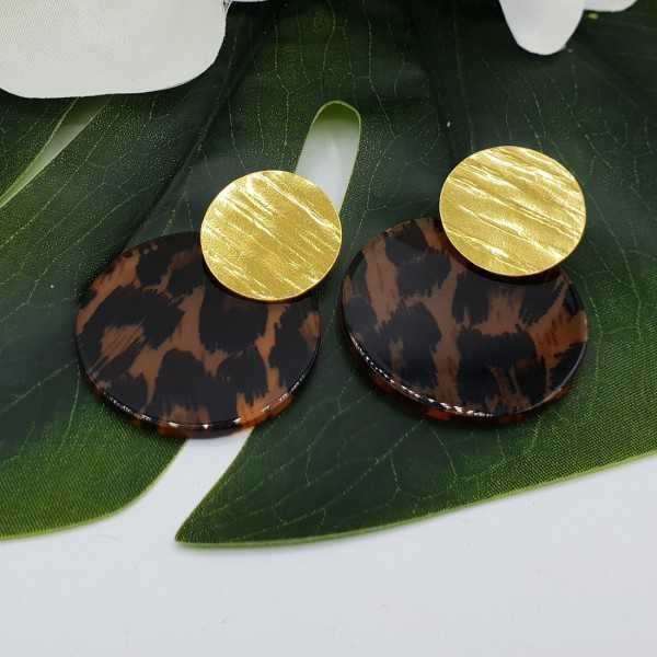 Gold plated earrings with leopard print resin pendant