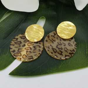 Gold plated earrings with round leopard print resin