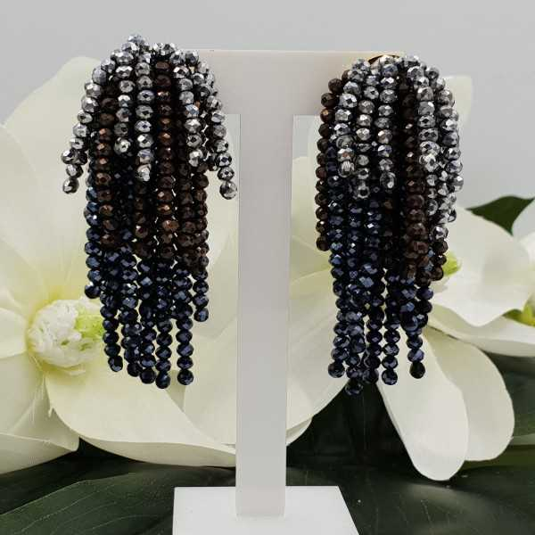 Vergoldete Wasserfall Quaste Ohrringe schwarz und Silber